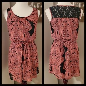 Coral and Black Paisley Dress